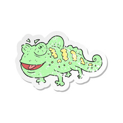 retro distressed sticker of a cartoon chameleon