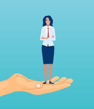 Vector of a confident ethnic businesswoman standing on the hand reaching for the goal.