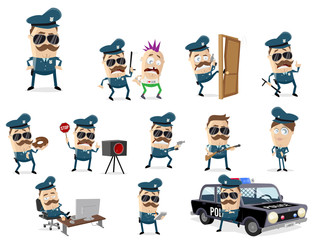 funny cartoon cop collection with various scenes