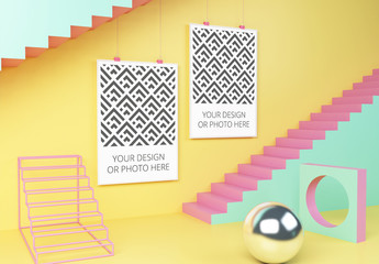 Two Vertical Posters in a Geometric Scene Mockup