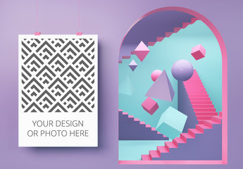 Vertical Poster in a Geometric Scene Mockup