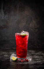 Red cranberry and lime cocktail