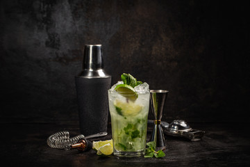 Mojito cocktail decorated with lime