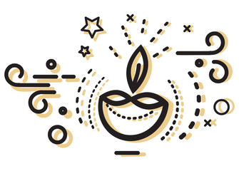 Diwali Diya Icon - Illustration