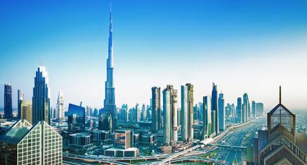 Amazing Dubai city center skyline at the sunset, Dubai, United Arab Emirates