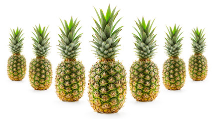 Pineapple's arranged like bowling pins.