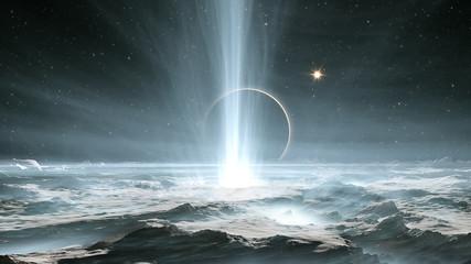 Fototapete - The huge geysers on Jupiter's icy moon Europa