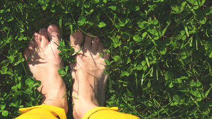 feet in green grass spring