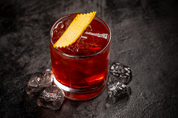 Close up of Negroni cocktail