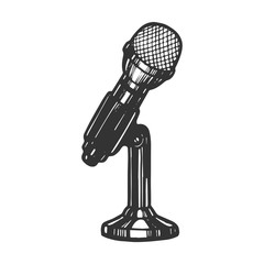 Microphone device sketch engraving vector illustration. Scratch board style imitation. Hand drawn image.