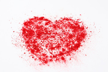big red heart abstract illustration of colored sand on a white background