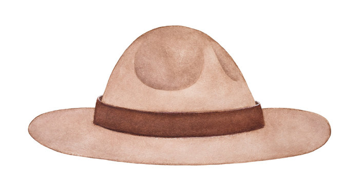 Light brown felt campaign hat. Part of uniform of Royal Canadian Mounted Police (RCMP), New Zealand Army, United States Park Rangers, Scouts. Hand painted watercolour drawing, cutout clip art element.
