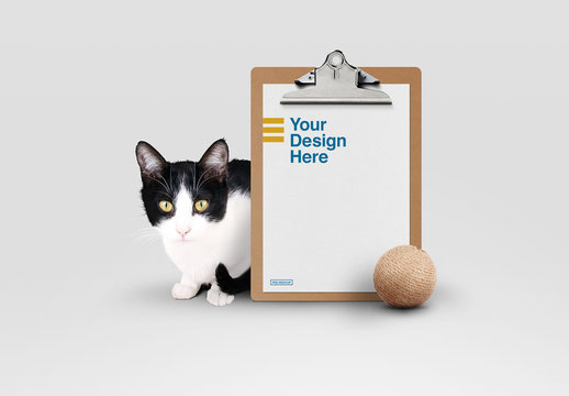 Clipboard and Cat Mockup