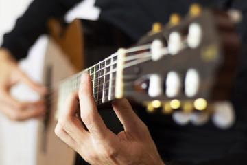 Classical guitar playing closeup