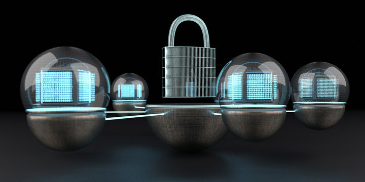 The data is protected and locked, D Illustration