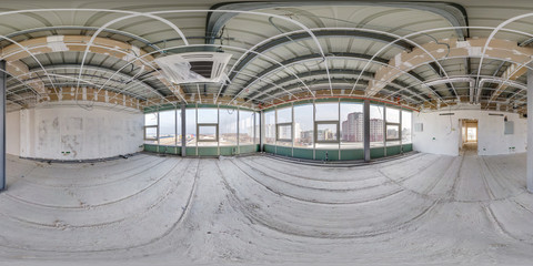 Empty room without repair. full seamless spherical hdri panorama 360 degrees in interior of white loft room office with panoramic windows in equirectangular projection