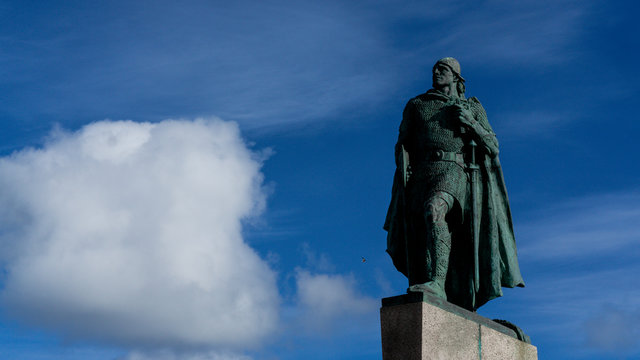 Leif Erikson monument in front of Reykjavik church, Iceland