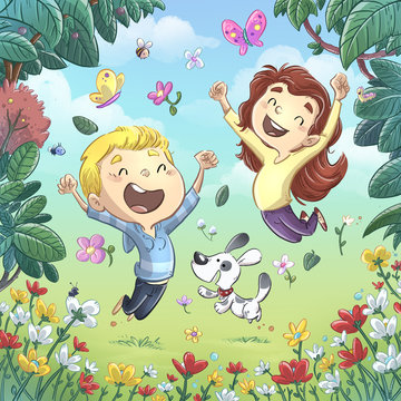 niños saltando en primavera