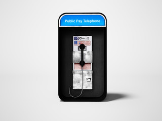 Telephone booth with landline telephone for city line 3d render on gray background with shadow