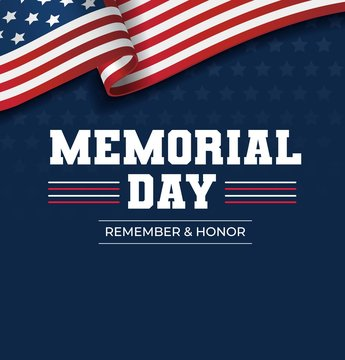 Happy Memorial Day background. National american holiday illustration. Vector Memorial day greeting card