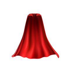 Cape set isolated on white background. Red superhero cloak. Vector silk flying super hero cloth.