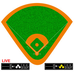 Baseball field vector illustration. Infographics for web pages, sports broadcasts, strategies backgrounds.