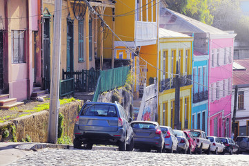 View of the streets in the historical center of the city at evening time. Valparaiso. Chile.