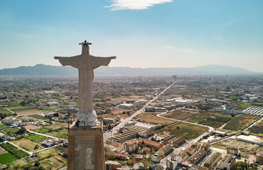 Aerial view Statue of Christ on top of Monteagudo Castle Murcia, Spain