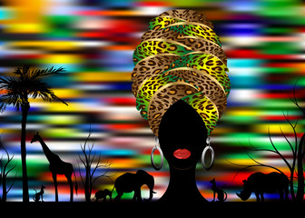 African safari animal silhouette landscape scene and portrait African woman in traditional turban, Kente afro head wrap leopard texture with ethnic jewellery, vector isolated or colorful background