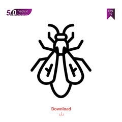 Outline fly icon isolated on white background. insect icons. Graphic design, mobile application, logo, user interface. Editable stroke. EPS10 format vector illustration