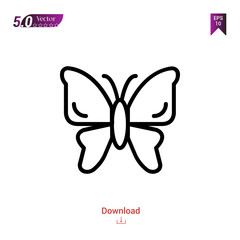 Outline butterfly icon isolated on white background. insect icons. Graphic design, mobile application, logo, user interface. Editable stroke. EPS10 format vector illustration