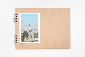 kraft notebook with tokyo travel concept