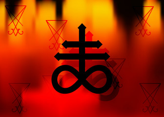Leviathan Cross alchemical symbol for sulphur, associated with the fire and brimstone of Hell. Vector black icon A sigil of Lucifer or print design, nazism symbol, cross of Satan in fire background