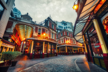 Leadenhall Market in London during Sunset taken in September 2018 taken in hdr