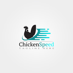 Chicken farm icon template, creative vector logo design, speed, animal husbandry, illustration element