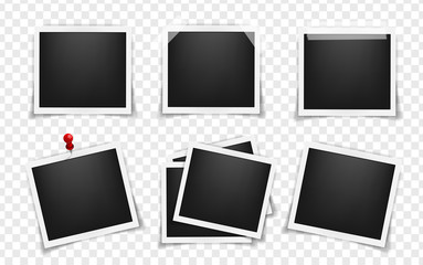 Pack of square realistic frame templates with shadows isolated on transparent background. Simple, on metal pin, on white sticky tape Vector illustration