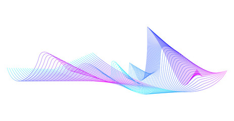 Wave of the many colored lines. Abstract wavy stripes on a white background isolated. Creative line art. Design elements created using the Blend Tool