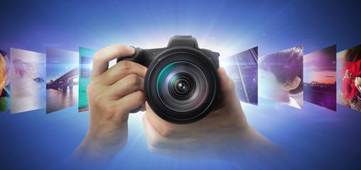 写真撮影する人のイメージ素材