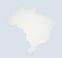 Brazil map blue white paper 3D blank