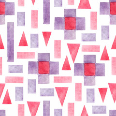 Abstract watercolor geometric seamless pattern. Triangles with aztec ornament  in tribal style. Hand painted ethnic illustration.Watercolor geometric background in patchwork style.