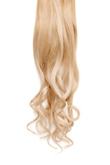Fototapeta Long wavy blond hair isolated on white background