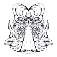 Line art Illustration of angel goddess of love with wings with a white dress facing back