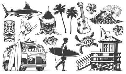 Vintage surfing elements monochrome collection