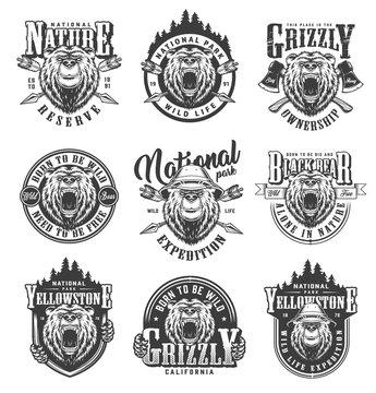 Vintage monochrome national park emblems