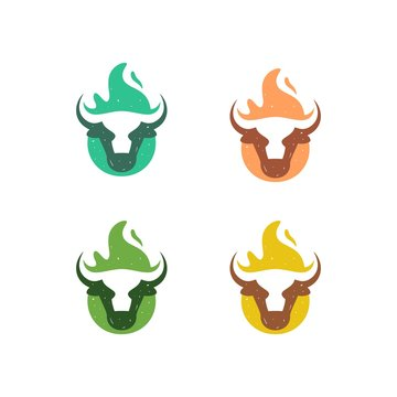 Abstract Cow Fire Concept illustration vector Design template