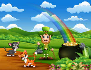 Foto op Aluminium Rivier, meer Cartoon St Patrick day leprechauns celebrate with a pet