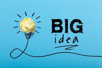 Concept Big Idea And Innovation With Paper Ball