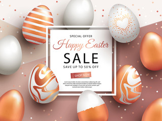 Easter Sale banner design with square frame, rose gold ornate eggs and confetti. Holiday Easter background with place for your text. Modern style greeting card or invitation. Flyer, poster template