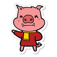 sticker of a angry cartoon pig in winter clothes