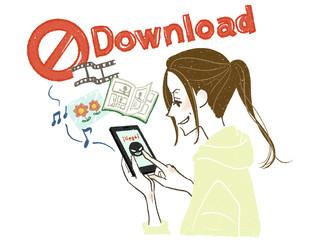 女性-スマートフォン-違法ダウンロード